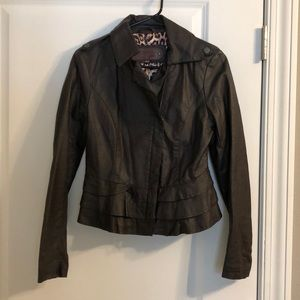 Super cute, dark brown, faux leather jacket